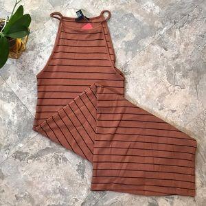 News striped bodycon dress